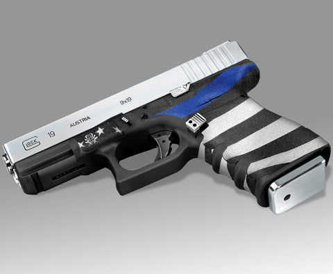 Glock 19 Gen3 Tactical Grip Graphics - Thin Blue Line