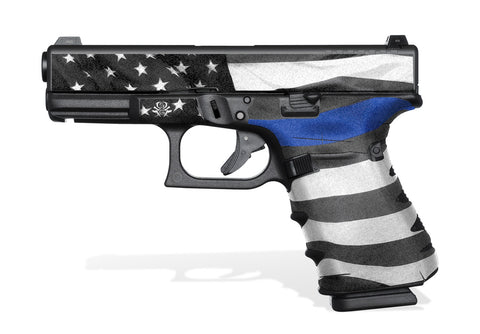 Glock 19 Gen4 Tactical Grip Graphics - Thin Blue Line