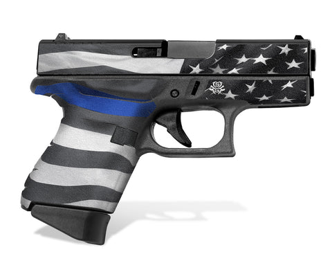 Glock 43 Tactical Grip Graphics - Thin Blue Line