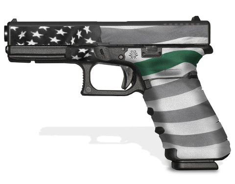 Glock 17 Gen3 Tactical Grip Graphics - Thin Green Line