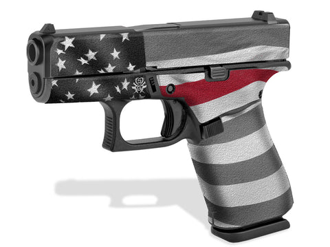 Glock 43X Decal Grip - Thin Red Line