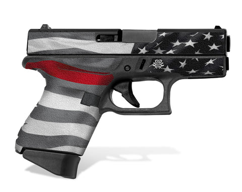Glock 43 Decal Grip - Thin Red Line