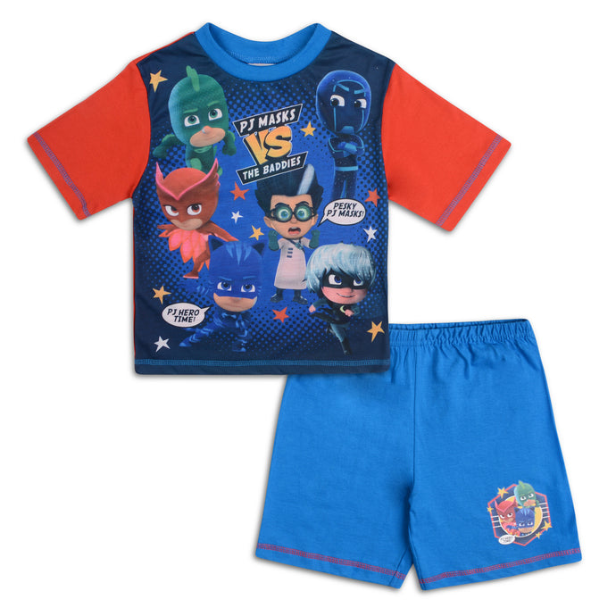 Boys PJ Masks Heroes and Baddies Shorties Pyjama Set - Buy1Get1HalfPrice.com