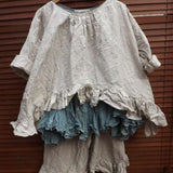 Natural Linen Shirt Artist RitaNoTiara Southern Gothic Couture quirky