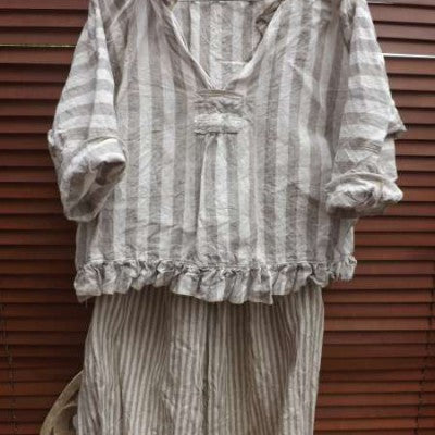 Stripe Linen Top boxy RitaNoTiara Southern Gothic Couture Boho quirky