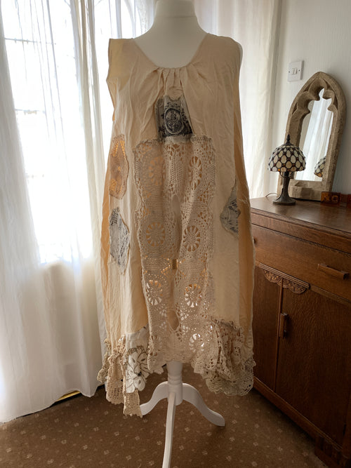 Ready to Ship Cream Cherub Dress Free Size