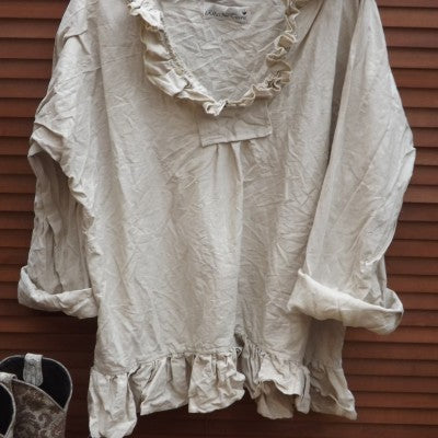 Saffy Natural Linen Shirt RitaNoTiara Prairie Wear Boho Chic lagenlook