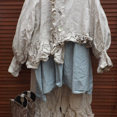 Natural Linen Jacket RitaNoTiara Southern Gothic Couture boho chic