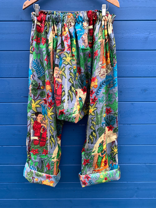 Ready to Ship Frida Kahlo Grey Harem Pants
