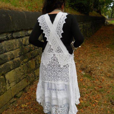 Antique Lace pinafore Dress RitaNoTiara Southern Gothic Couture Boho