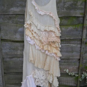 Mary Ruffle Dress RitaNoTiara Boho Chic antique lace tea shift vintage