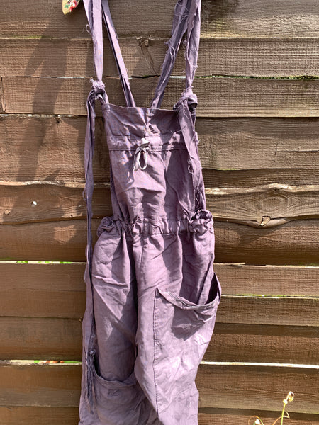 Ready to Ship Slate Grey Linen Dungarees Free Size