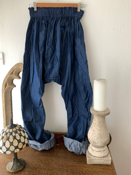 Ready to Ship Frida Kahlo Blue Harem Pants