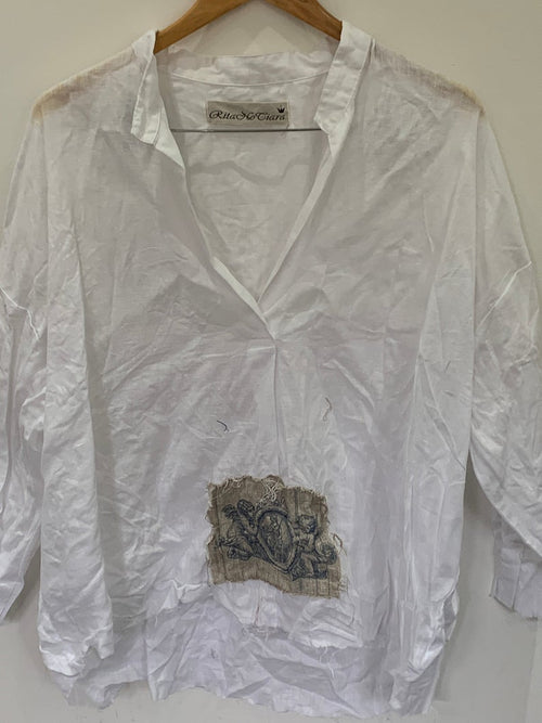 Ready to Ship White Linen Cherub Top One Size