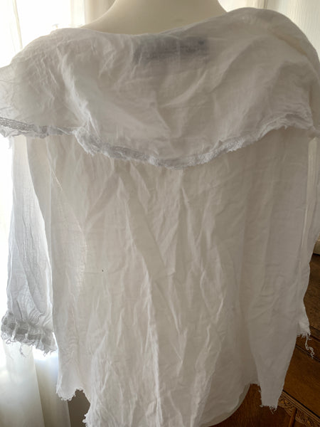 Ready to Ship Free Size White Cotton Puritan Top