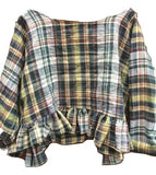 Midnight in the Garden Tartan Linen Top