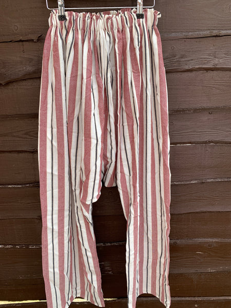 Ready to Ship Men's Linen Stripe Drop Crotch Pants