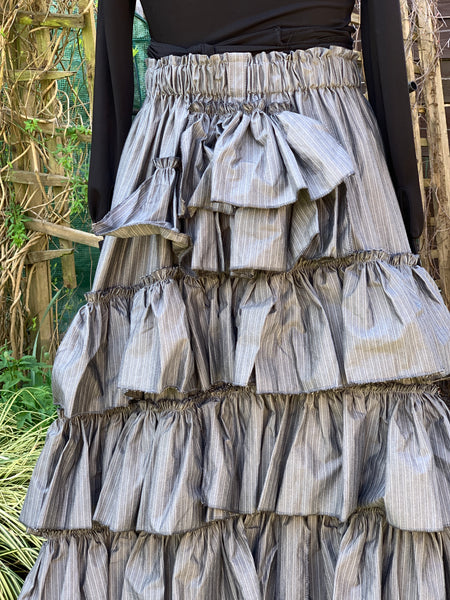Ready to Ship Grey Stripe Bustle Skirt Free Size