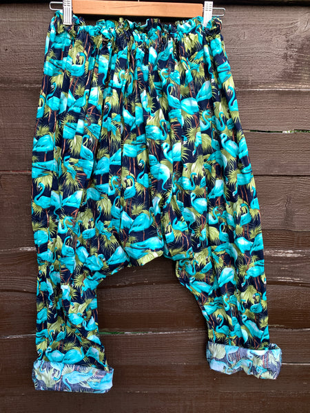 Ready to Ship Blue Check Reversible Harem Pants Free Size