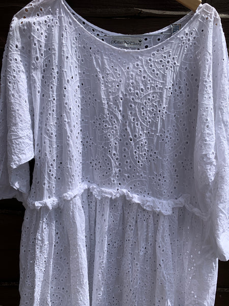 Ready to Ship May Embroidery Anglaise Cotton Dress One Size