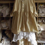 Free Size Cream Cotton Prairie Shirt Ready to Ship