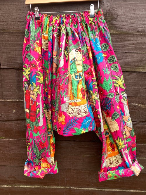 Ready to Ship Frida Kahlo Magenta Harem Pants