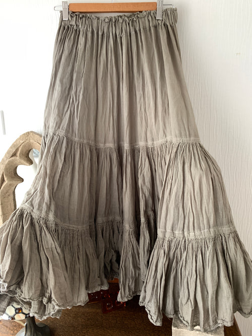 Ready to Ship Khaki Cotton Prairie Skirt Free Size ( Seconds)