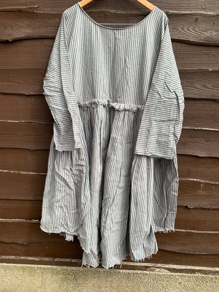 Ready to Ship May Ticking Stripe Dove Cotton Dress One Size