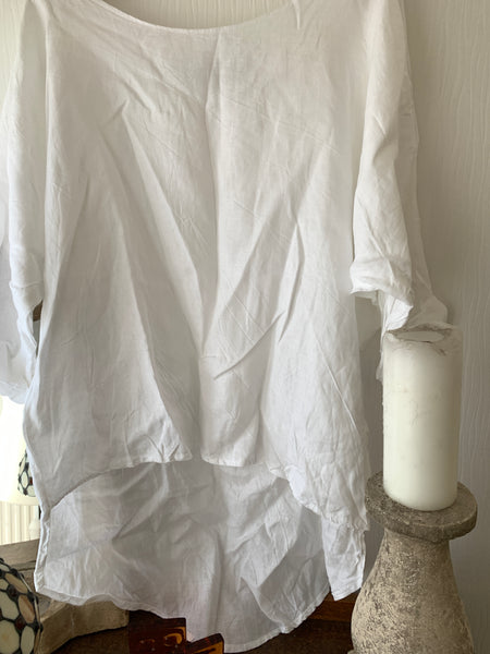Simple Asymmetric White Linen Top