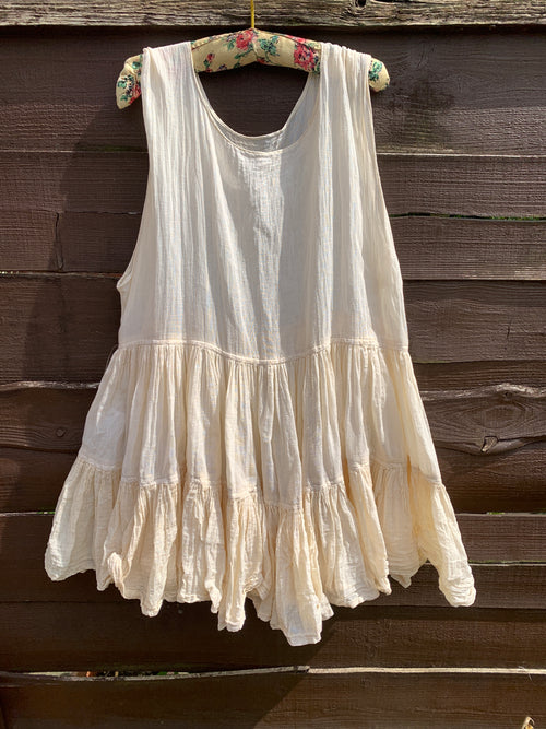 Romy Cream Cotton Tank One Size Ready to Ship