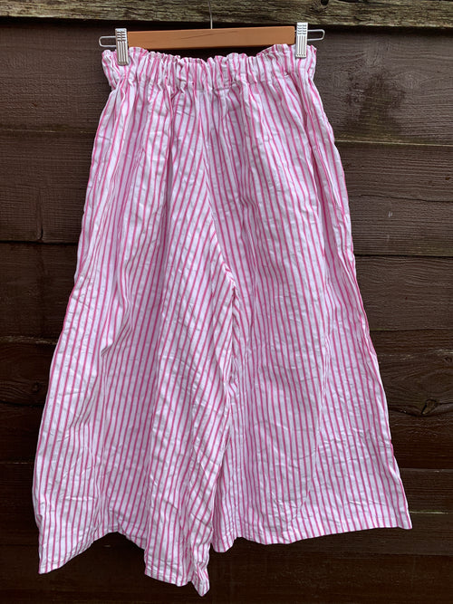 Ready to ship Pink Ticking Stripe Culottes Free Size