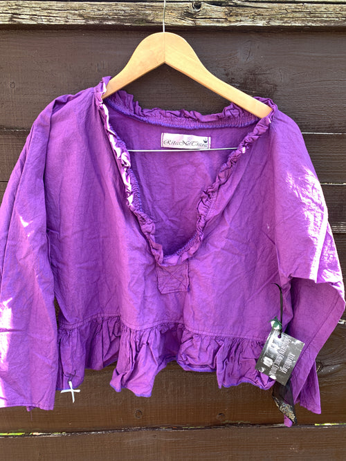 Ready to Ship Cotton Short Saffy Top  Violet S/M