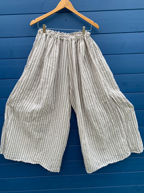 Ready to Ship Linen Seersucker Culottes Free Size