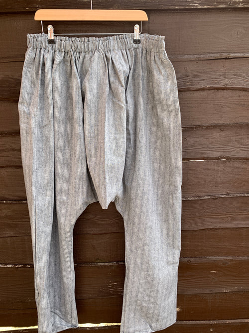 Ready to Ship Men's Linen Pale Grey Drop Crotch Pants