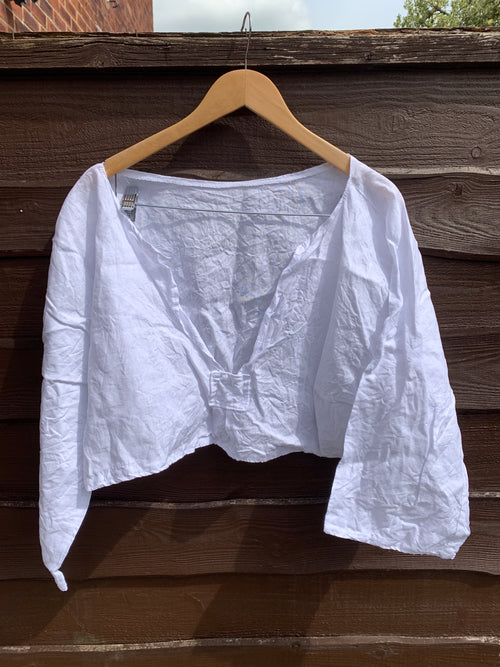 Ready to Ship White Linen Cropped Top One Size