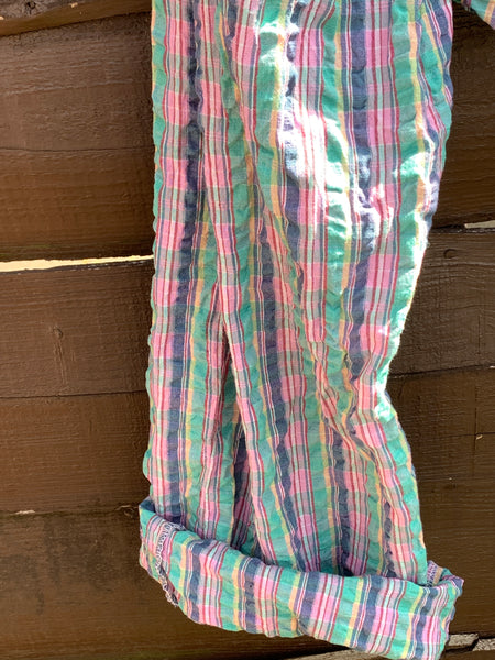 Ready to ship OOAK Stripe Gingham Cotton Seersucker Harem Pants