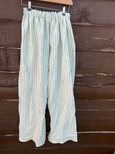 Ready to Ship Mint Stripe Linen Garcon Pants Unisex