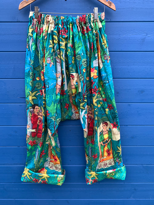 Ready to Ship Frida Kahlo Turquoise Harem Pants
