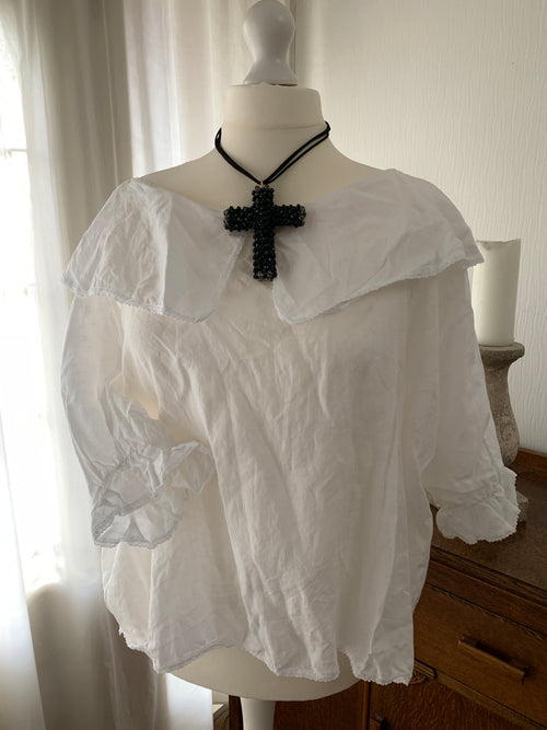 Ready to Ship Free Size White linen Puritan Top