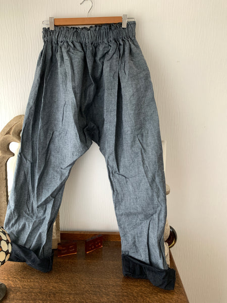 Ready to Ship Mid Blue Denim Harem Pants Free Size