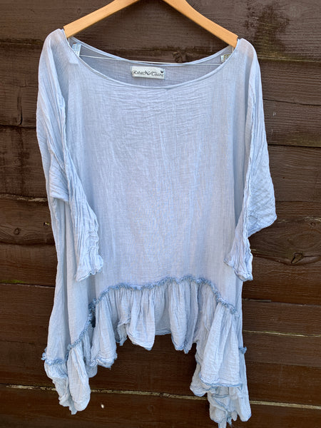 Ready to Ship One Size Gauze Cotton Asymmetric Top