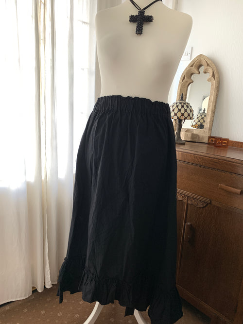 Black Cotton Prairie Skirt Free Size
