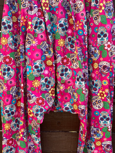 Ready to Ship Day of the Dead Pink Harem Pants