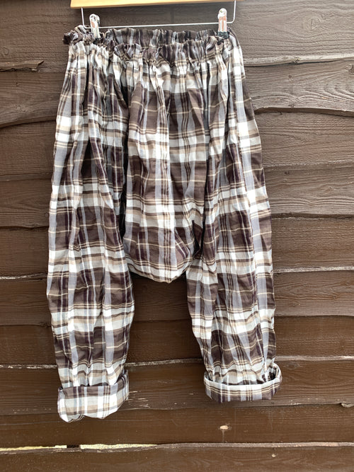 Ready to Ship Men's Cotton Check Drop Crotch Pants