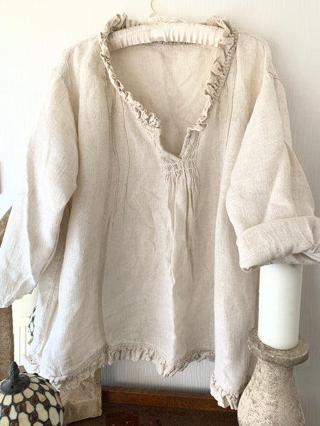 Ready to Ship Saffy Oat Linen Prairie Top One Size LAST ONE