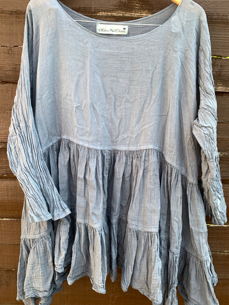 Ready to Ship One Size Teal Romy Prairie Top