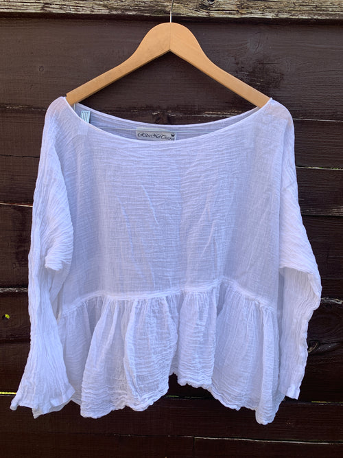 Ready to Ship One Size Gauze Romy Cotton White Top