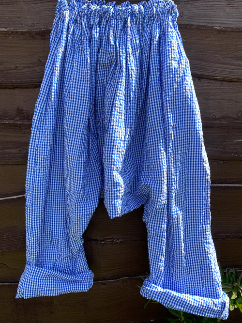 Blue Gingham Cotton Seersucker Harem Pants