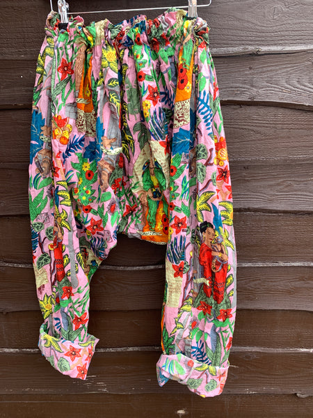 Ready to Ship Frida Kahlo Pink Harem Pants