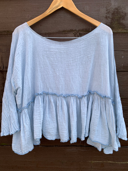 Ready to Ship One Size Gauze Romy Cotton Pale Blue Top